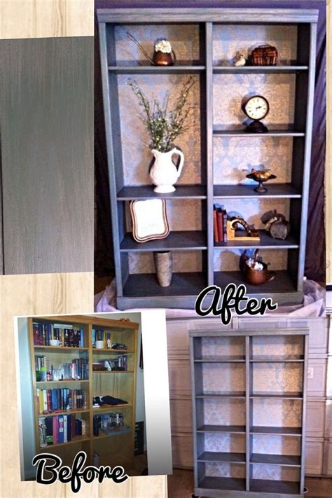how to paint back of bookcase bookshelf with wallpaper back red river furniture