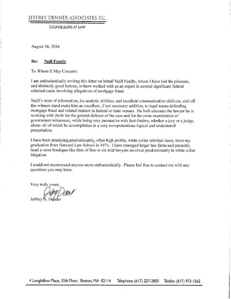 Mortgage Recommendation Letter Attorneys Recommend Neill Fendly Of Mortgage Defense