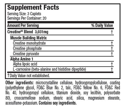 creatine nutrition facts creatinex3 pill six pro nutrition