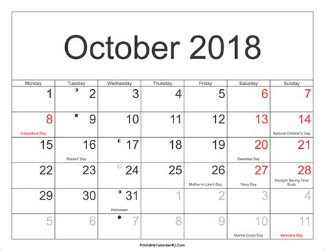 Calendar 2018 With Holidays Usa Printable October 2018 Calendar With Holidays Calendar Yearly