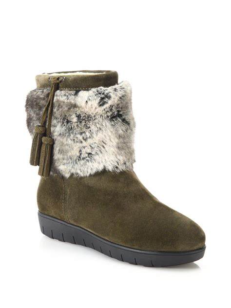 aquatalia wilona suede faux fur ankle boots in green