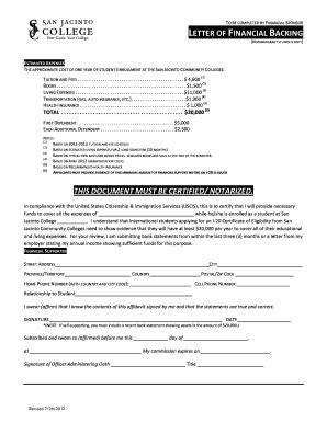 Financial Backing Letter fillable sanjac letter of financial backing san