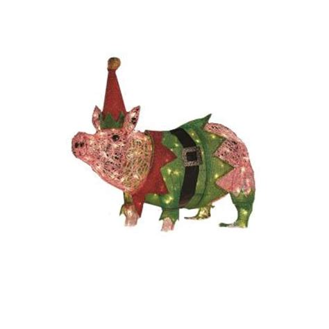 home accents holiday 32 in 100 light acrylic lighted pig