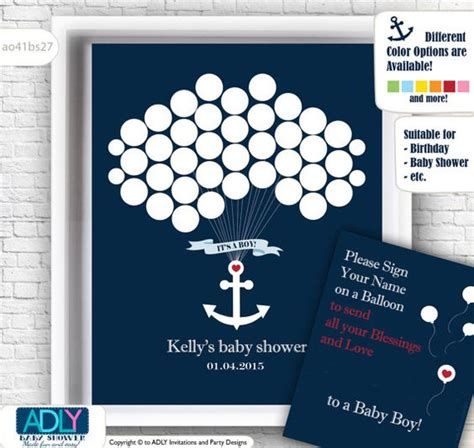 nautical guest book alternative for baby shower with