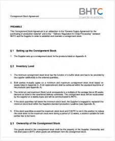 free consignment stock agreement template simple agreements