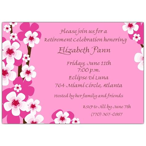 retirement invitation cherry blossoms pink retirement invitations paperstyle