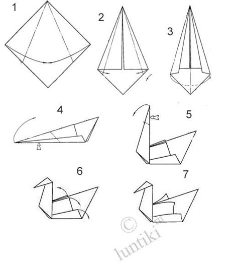 Steps To Make A Paper Swan - craft ideas origami technique for children a swan