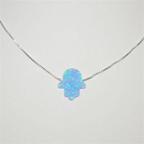 real blue opal 13x11mm light blue opal hamsa fatima hand charm pendant