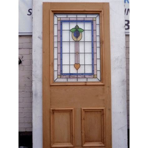 3 Panel Bell Stained Glass Door Period Home Style Glass Door