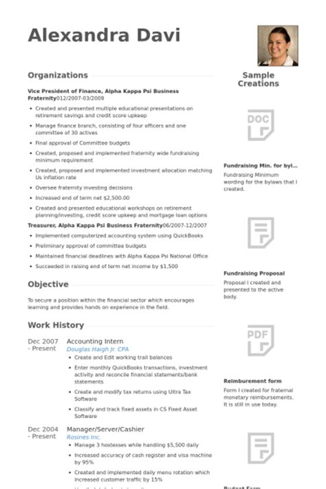accounting intern resume sles visualcv resume sles