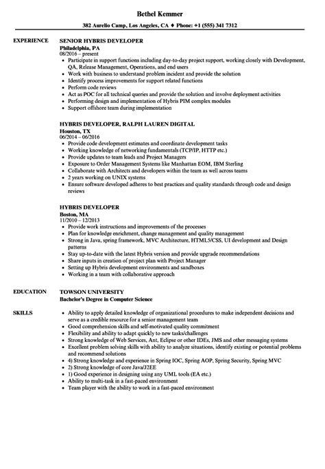 Remedy Developer Sle Resume by Hybris Developer Resume Sles Velvet