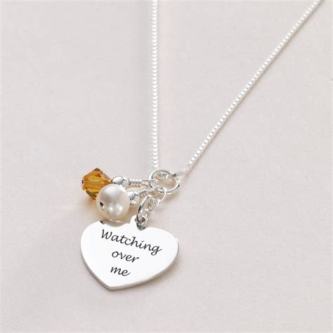 engraved necklace with birthstone pearl in silver