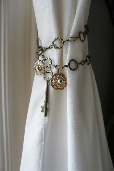 curtain tie back ideas curtain tieback antique brass chain skeleton key shabby