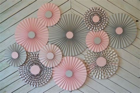 Pink And Grey Decorations by Pink Grey And Polka Dot Set Of 10 Ten Paper Fans