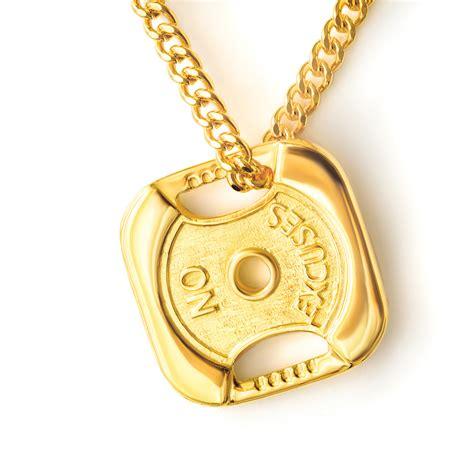 gold plated 24k gold plated weightplate necklace no excuses fit