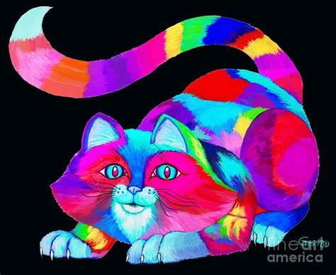 Home Decor Blogs Pinterest by Frisky Colorful Cat 2 Drawing By Nick Gustafson