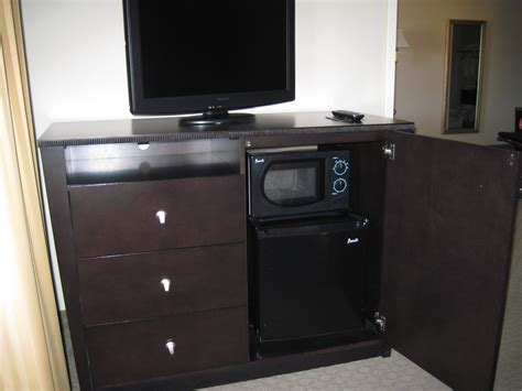 microwave in bedroom espresso tv stand with drawers and mini fridge plus