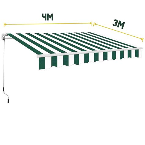Awning Manual 4 x 3m manual awning patio canopy garden shelter sun shade