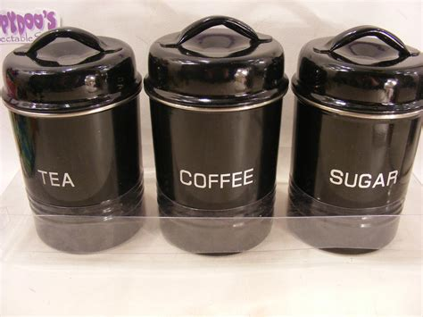 kitchen tea coffee sugar canisters bnib set of 3 black stainless steel kitchen canisters