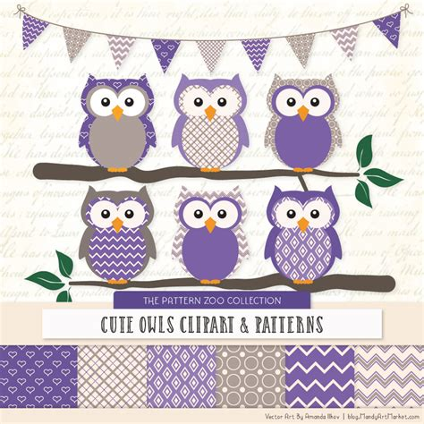 purple patterned owl clipart patterns
