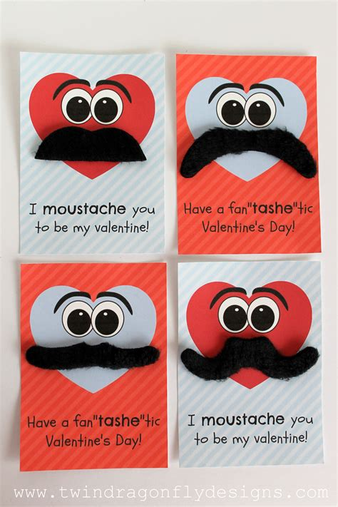 mustache valentines moustache valentines with free printable 187 dragonfly designs