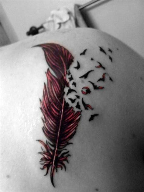 feather tattoo with birds flying away feather tattoo images designs