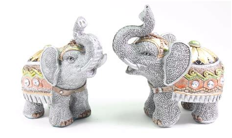 elephant home decor set of 2 feng shui gray elephants trunk statue lucky