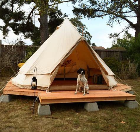tenda co base simple wood platform on cinder blocks backyard yurt tent