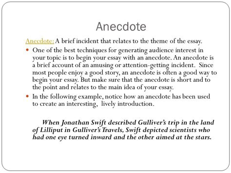 Anecdotes Exles For Essays by What Is An Anecdote In An Essay
