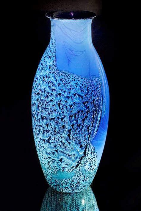 Chagne Flutes In Vase by Vase Designed Josh Blown Glass Blue