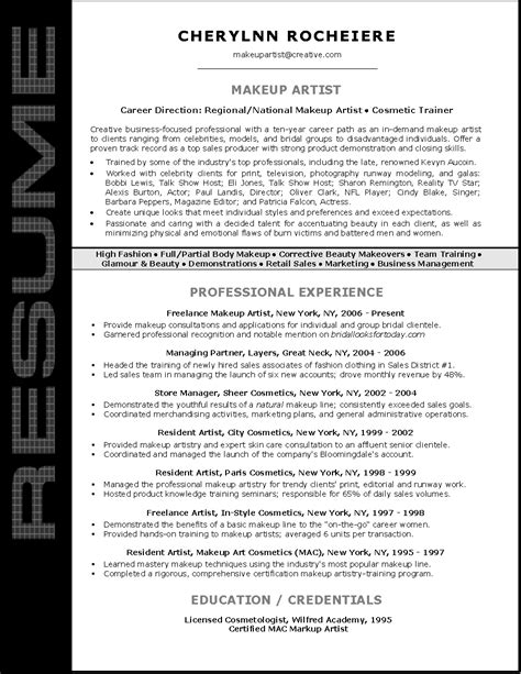makeup artist resume templates resume sle for makeup artist resume