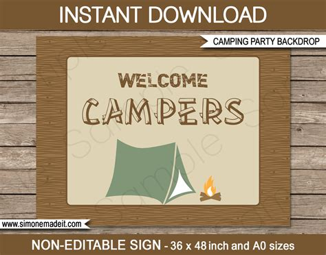 new large printable camping party signs and backdrops