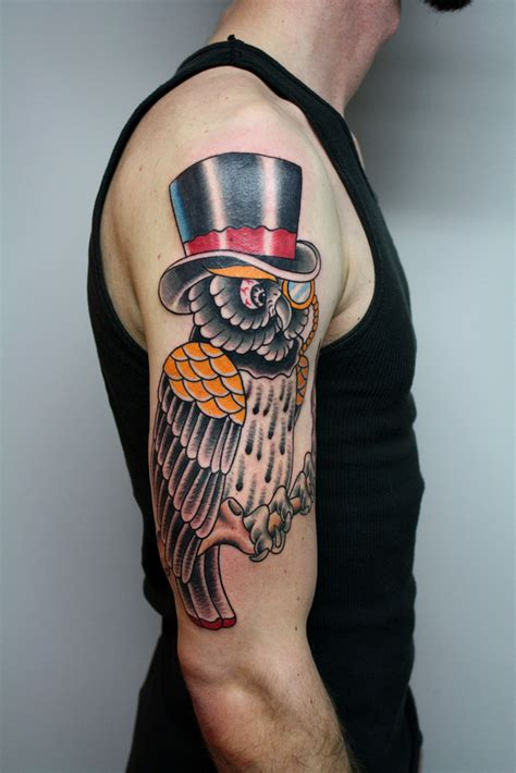 owl tattoo hat 30 awesome traditional owl arm tattoos