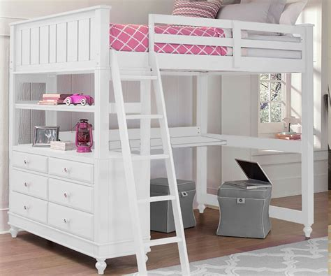 1045 full size loft bed with desk white lakehouse collection ne kids furniture in white