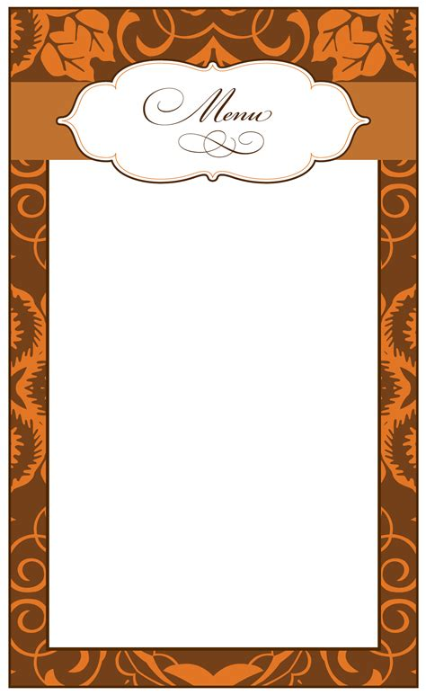 Blank Menu Card Templates by 8 Best Images Of Printable Thanksgiving Menu Blank