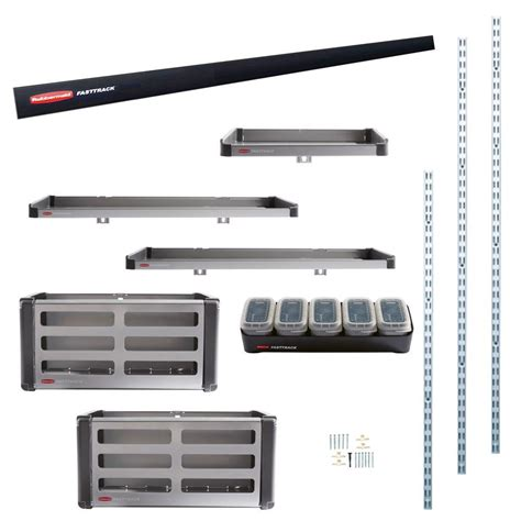 Rubbermaid Garage Shelving Kit Rubbermaid Fasttrack Garage Rail Accessory Starter Kit 11