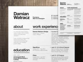 Best Font For Artist Resume by Swiss Style Resume 2014 By Damian Watracz Dribbble