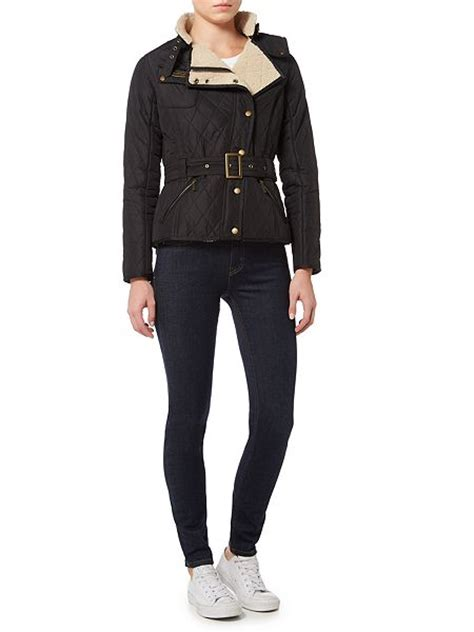 Barbour Matlock Quilted Jacket by Barbour Matlock Quilted Biker Jacket Black House Of Fraser