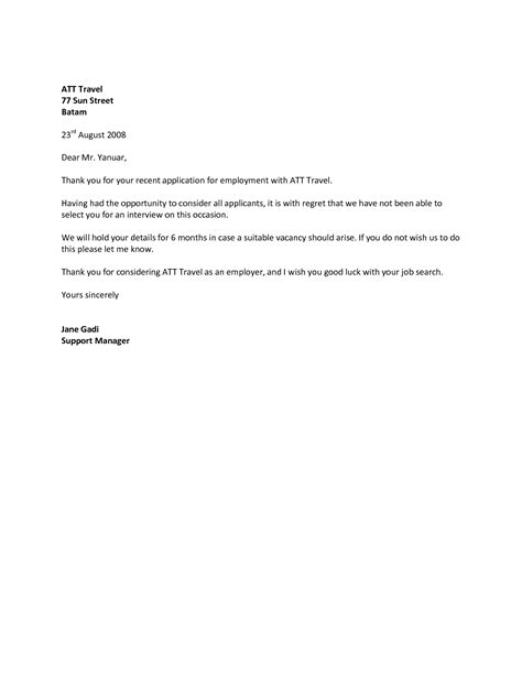 Employment Letter Rejection Sle Best Photos Of Sle Rejection Letter Offer