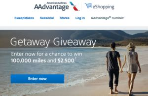 Airline Miles Sweepstakes - enter for a chance to win 100 000 american airlines miles 2 500