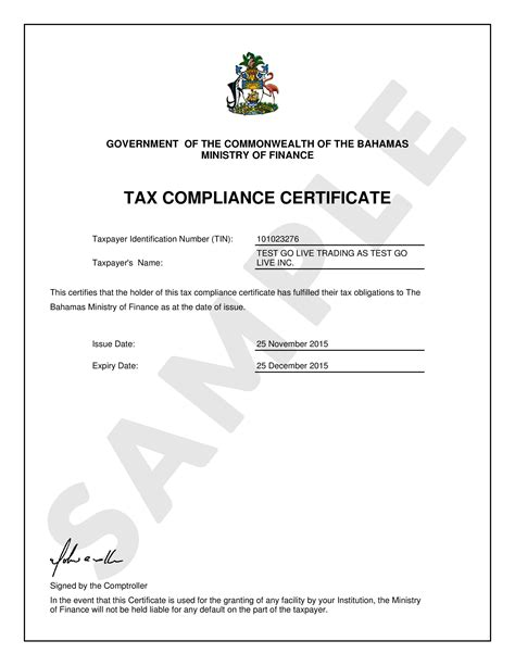 Tax Credit Compliance Letter 2015 Tax Compliance Certificate Department Of Inland Revenue