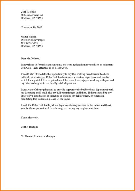 formal resignation letter template sales slip template