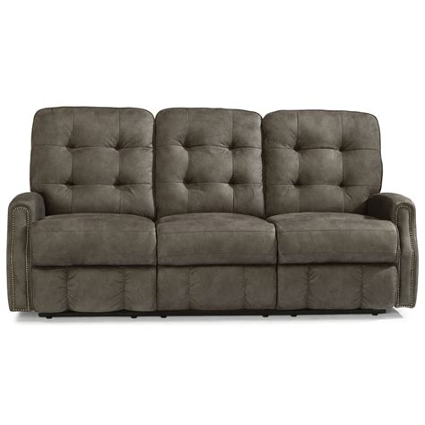 reclining sofa with usb port flexsteel button tufted power reclining sofa with
