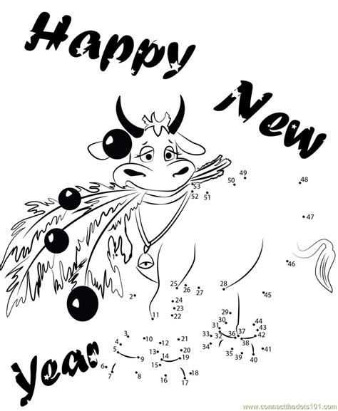 new year join the dots new year cow dot to dot printable worksheet connect the dots