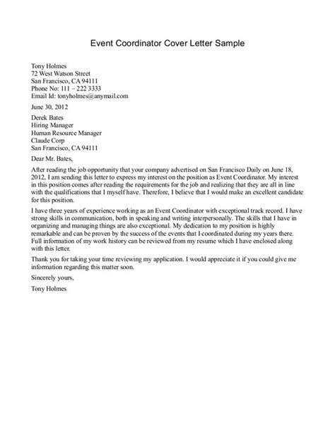 cover letter for event coordinator position coordinator cover letter cover letter sle of a