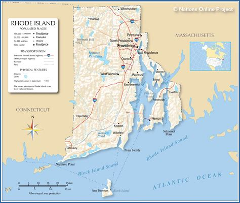 rhode island on map reference maps of rhode island usa nations project