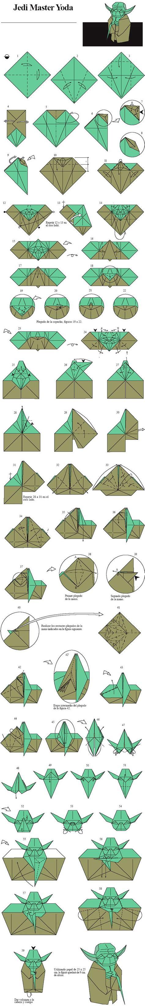 Origami Jedi - origami jedi master yoda designed by fumiaki kawahata