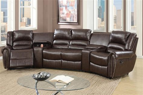 brown reclining sectional poundex malta f6748 brown leather reclining sectional