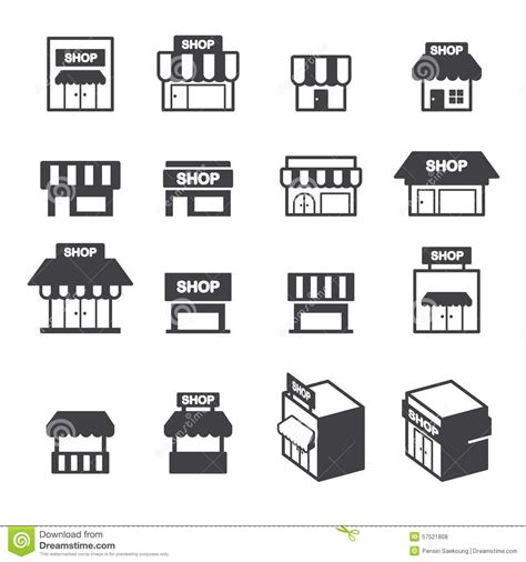 shop layout vector shop building icon set stock vector illustration of