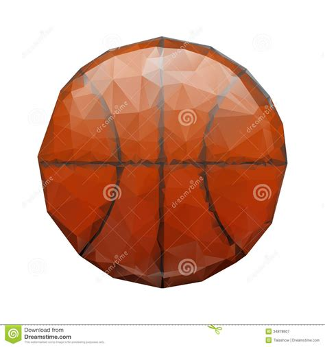 Origami Basketball - abstract geometric polygonal basketball royalty free